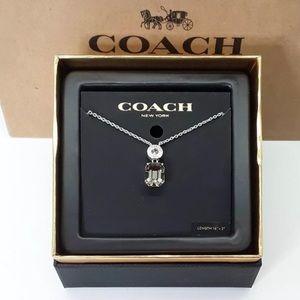 "COACH Emerald Cut Silver/Black Necklace16""-18"" New"